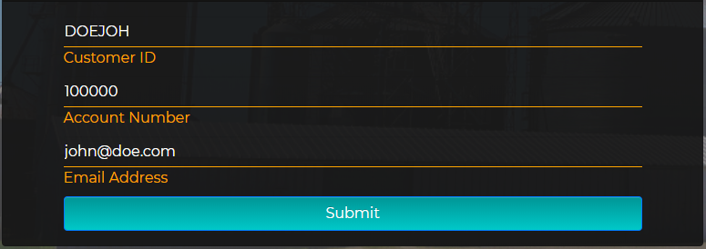 A picture of a mock signup form filled out. Customer ID is TESTID all caps. Account Number is 123456. Email is working@email.com
